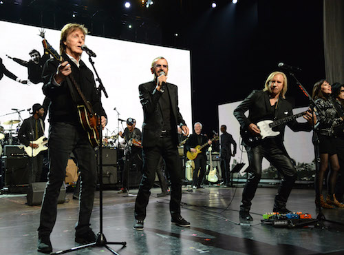 CLEVELAND, OH - APRIL 18:  Paul McCartney, Ringo Starr and Joe Walsh perform onstage during the 30th Annual Rock And Roll Hall Of Fame Induction Ceremony at Public Hall on April 18, 2015 in Cleveland, Ohio.  (Photo by Kevin Mazur/WireImage for Rock and Roll Hall of Fame)